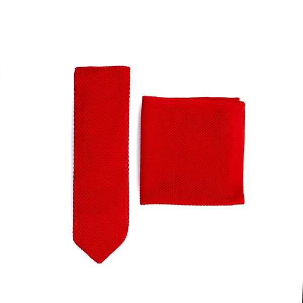 Pillar Box Red Knitted Tie and Knitted Pocket Square Set
