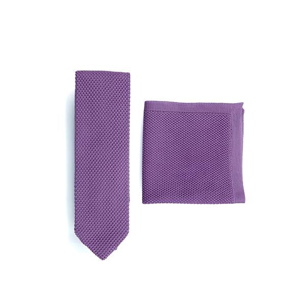 Purple knitted tie and pocket square set