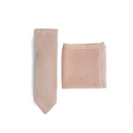 Rose Quartz Knitted Tie and Knitted Pocket Square Set