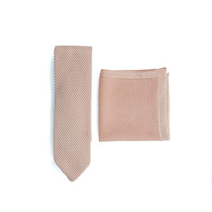 Rose quartz knitted tie and pocket square set