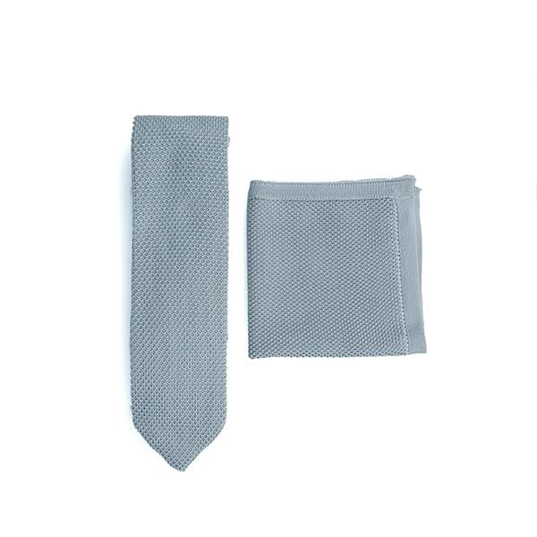Silver Knitted Tie and Knitted Pocket Square Set
