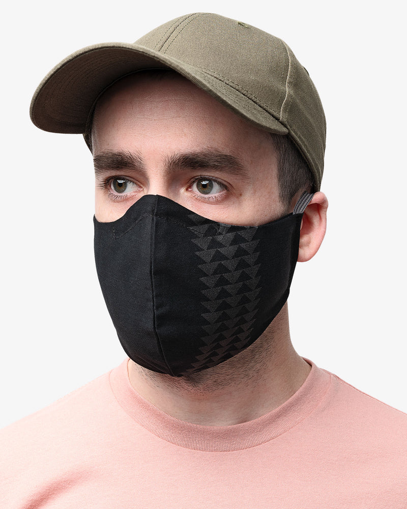 Male wearing Black Wolf So iLL X On The Roam face mask