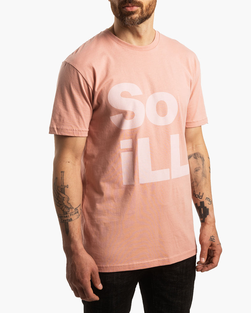 Male wearing Dirty Pink So iLL Stacked Logo tee