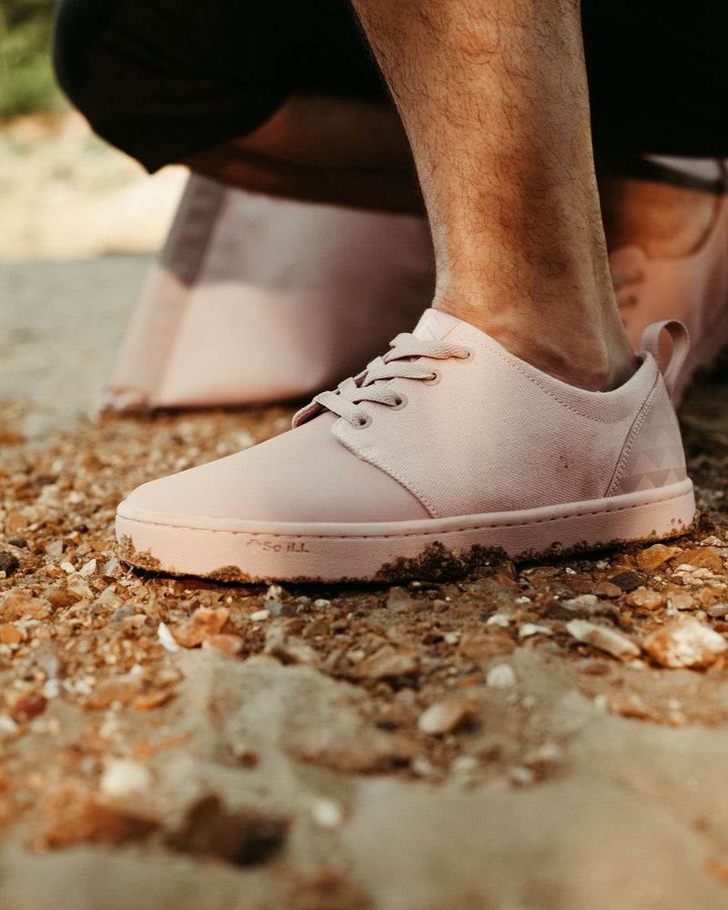 on the roam and so ill collaboration by jason momoa pink wolf wino shoes on male model outside