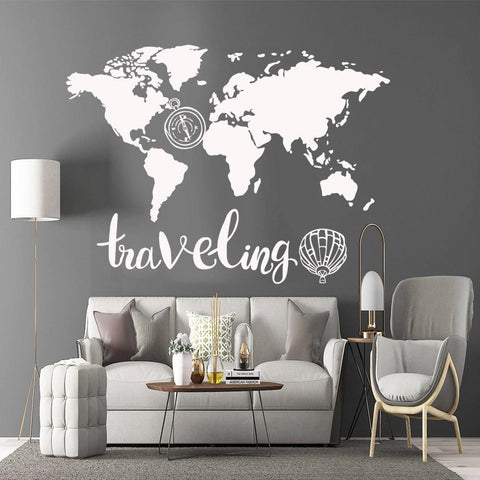 Carte du Monde Vinyle Stickers