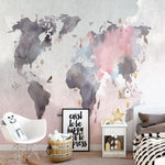 Papier Peint Mappemonde Rose | Gaia Map