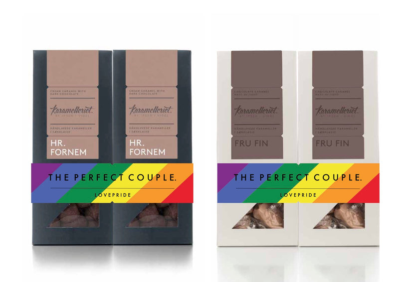 Lovepride - The perfect couple - 2 x 120g Karameller med chokolade, HR