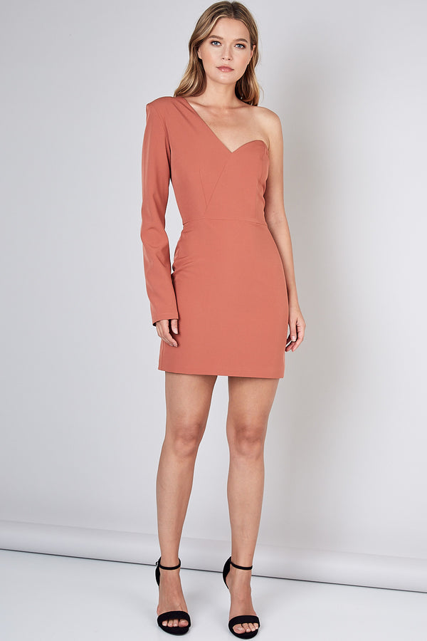 One Shoulder Long Sleeve Dress