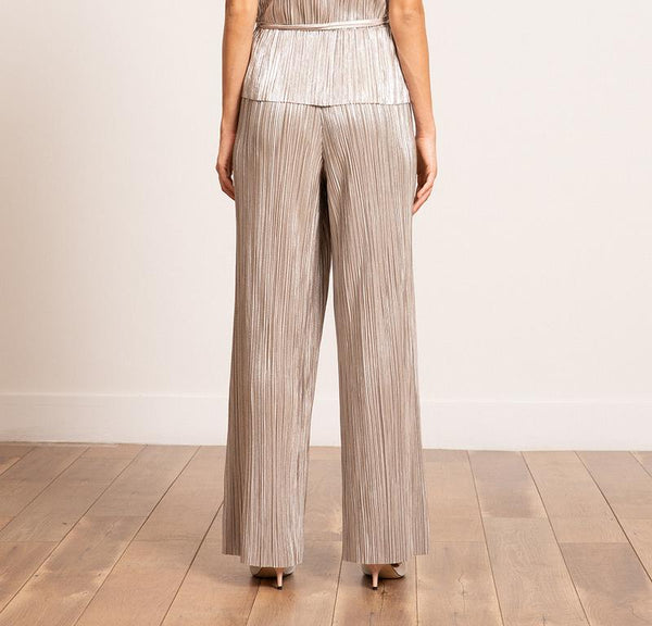 Bianca Metallic Pleated Pants