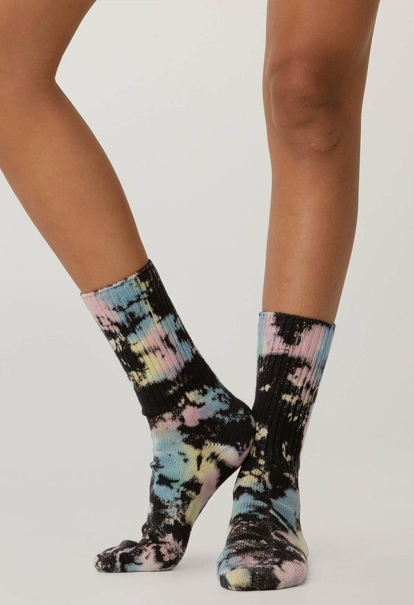 Black Color Pop Tie Dye Socks