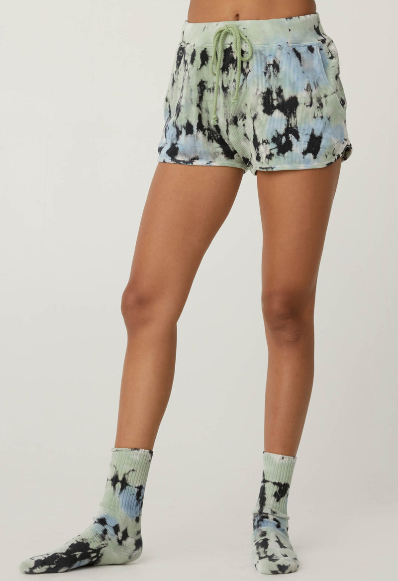 Tie Dye Thermal Shorts In Green Wash