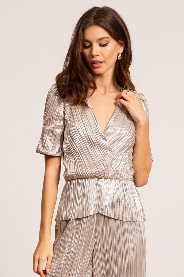 Bianca Metallic Pleated Top