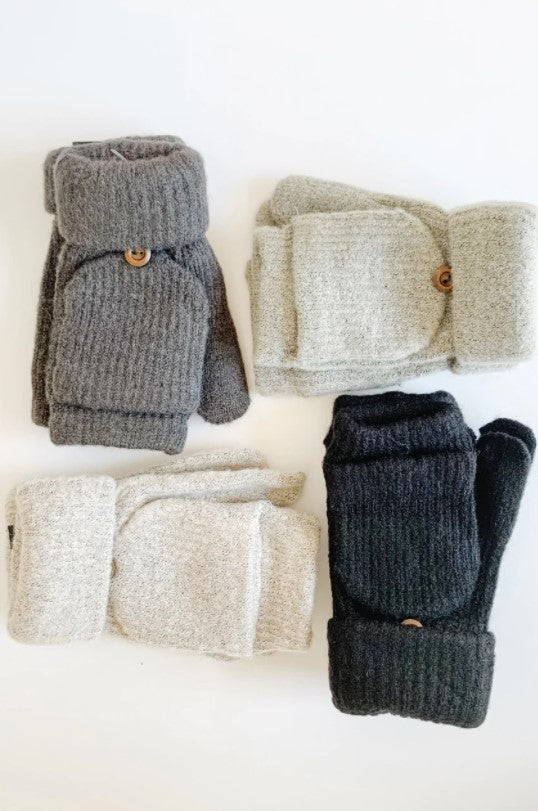 Knit Pop-Top Mittens