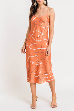 Printed Satin Midi Slip Dress