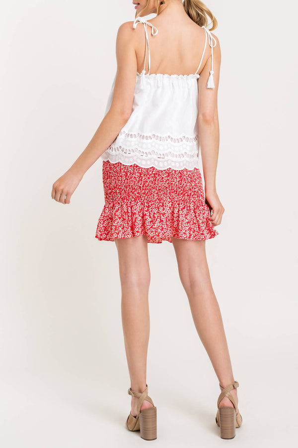 Eyelet Scalloped Edge Tank