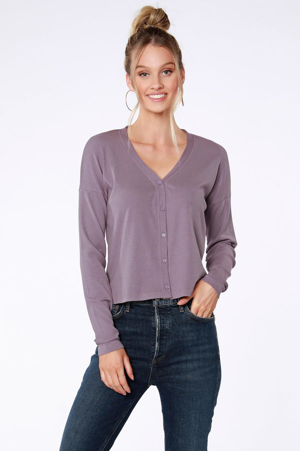 Ribbed Button Front Top