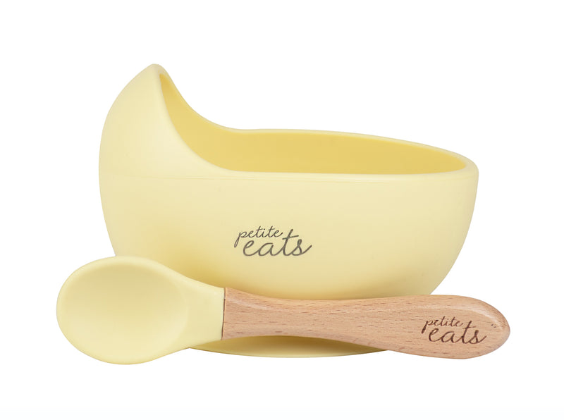 Petite Eats Yellow Suction Bowl & Spoon
