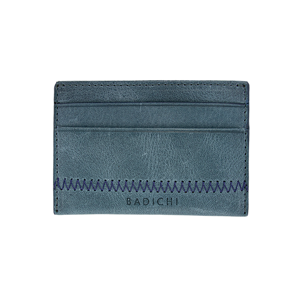 Blue Denim Leather Card Case