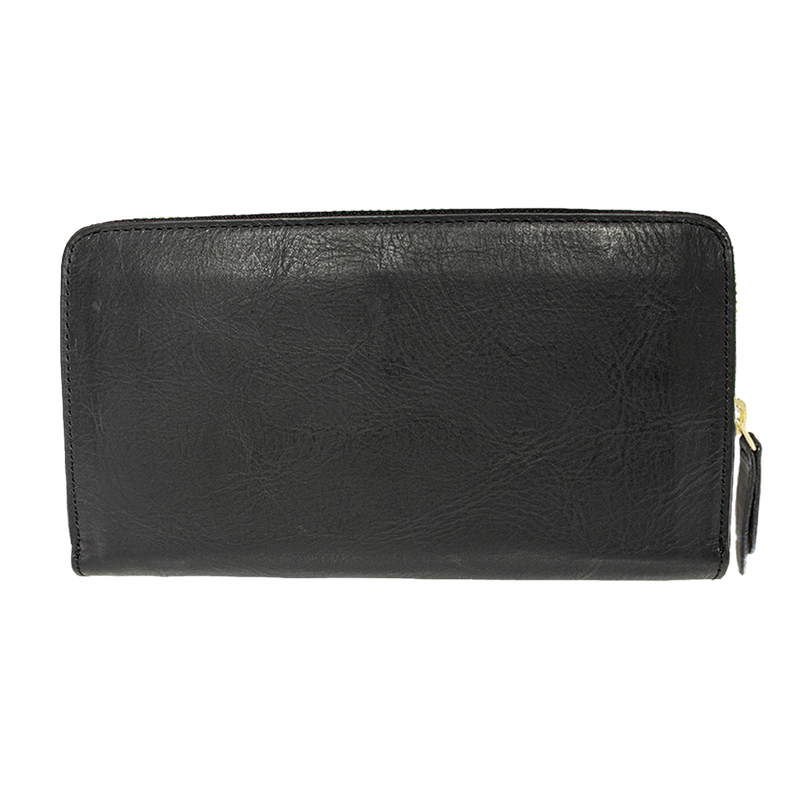 Accordion Zip Wallet Black