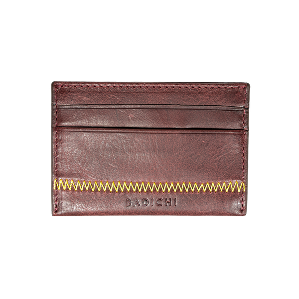 Burgundy Denim Leather Card Case