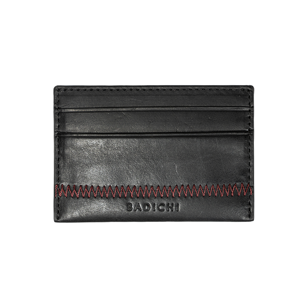 Black Denim Leather Card Case