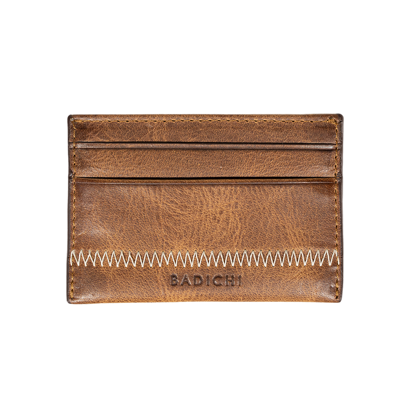 Cognac Denim Leather Card Case