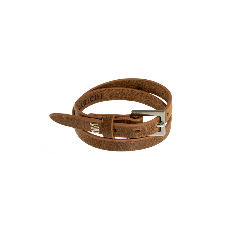 NYC Double Wrap Bracelet Men Cognac
