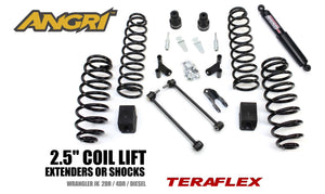 "JK/JKU 2.5"" Teraflex COIL SYSTEM with Shock Extenders and Steering Stabiliser (FULLY FITTED)"