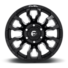 "Load image into Gallery viewer, FUEL OFFROAD 'BLITZ' 17"" D673 - Gloss Black Milled 17"" Rims (set of 5 Jeep 5/127) JK"