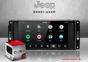 "OneNAV 8"" in-dash for Jeep (RETAIL BOX) + REVERSE Cam JK/JKU - Apple Car Play / Android 9 Head Unit"