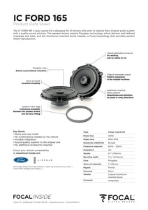 Focal IC FORD 165 2-Way Coaxial Speaker Upgrade Kit for Ford