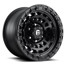 "Load image into Gallery viewer, FUEL OFFROAD 'ZEPHYR' 17"" D633- Matte Black - Black Ring 17/9 Rims (set of 5 Jeep 5x127 - 12) JK"