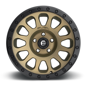 "FUEL OFFROAD 'VECTOR' 17"" D600- Matte Bronze - Black Ring 17/9 Rims (set of 5 Jeep 5x127 - 12) JK"