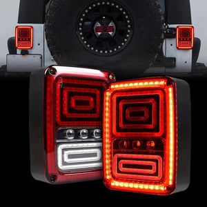 TAIL LIGHTS - RED SWIRL LED replacement for Wrangler JK/JKU (pair)