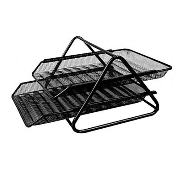 Letter Tray 2 Step Metal Mesh (Black)