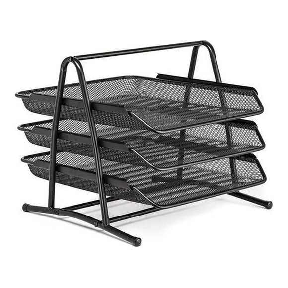Letter Tray 3 Step Metal Mesh (Black)