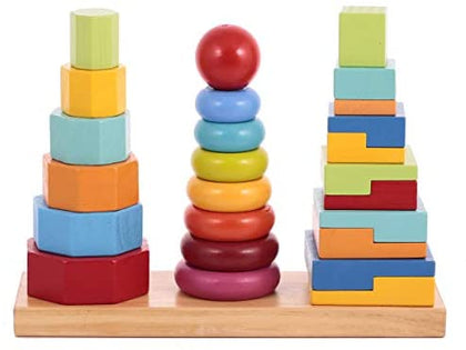 Wooden Toy 3 Column Tower #146