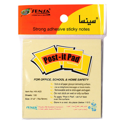 Post-it Pad Yellow Sensa 3X3