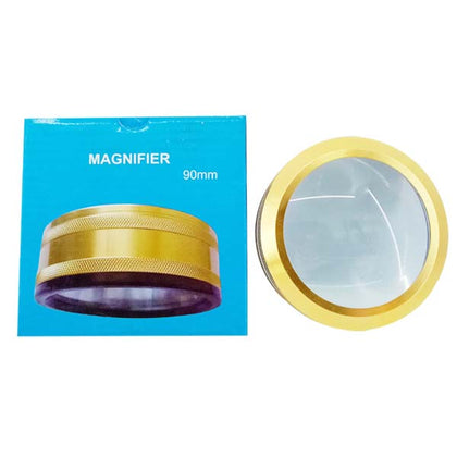 Magnifying glass double 90 MM Golden