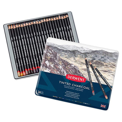 Tinted Charcoal Tin Pack-Derwent 24 Pcs (2301691)