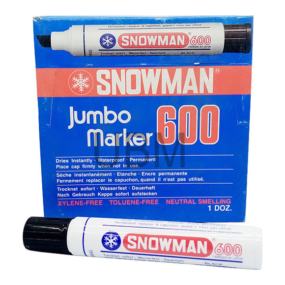 Snowman Jumbo Marker Permanent No-600 Black (1pcs)
