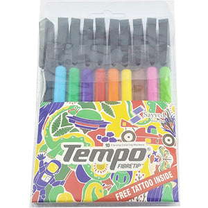 Tempo Fiber Tip Marker set 10 Colour