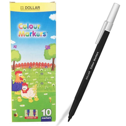 Dollar Colour Marker Black (10pcs)