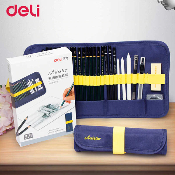 Deli 27 Pcs Fine-Art Drawing & Sketching Pencil Tool kit with Cloth Bag