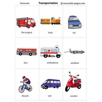 Flash Cards Transports - Assorted - naiton