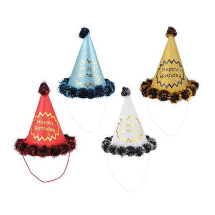 Birthday Cap Glitter Pom Pom Large