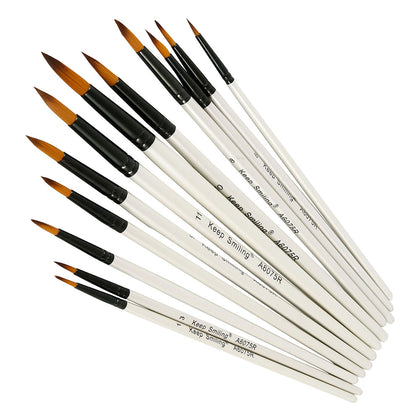 Paint Brush Set Round White(12 Pcs) Keep Smiling