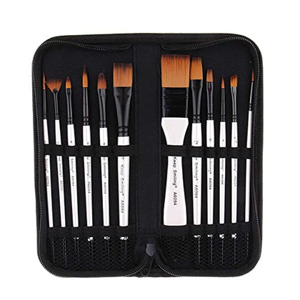 Keep Smiling Value Painting Brush Set Of 12 Pcs With Carry Case