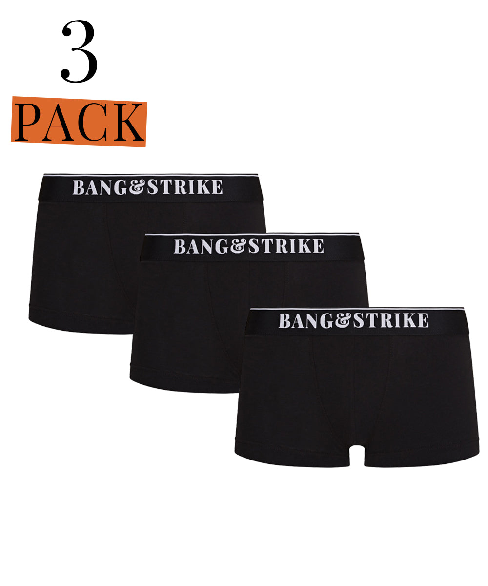 3 Pack Core Cotton Black Trunk
