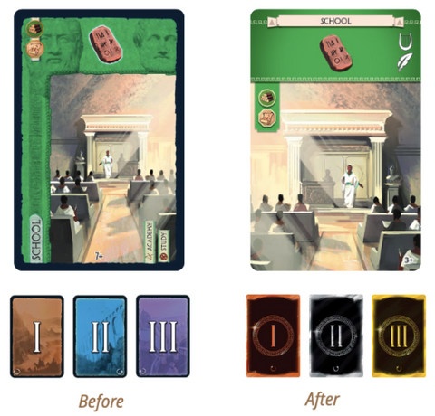 7 Wonders New Edition Card Design - before and after